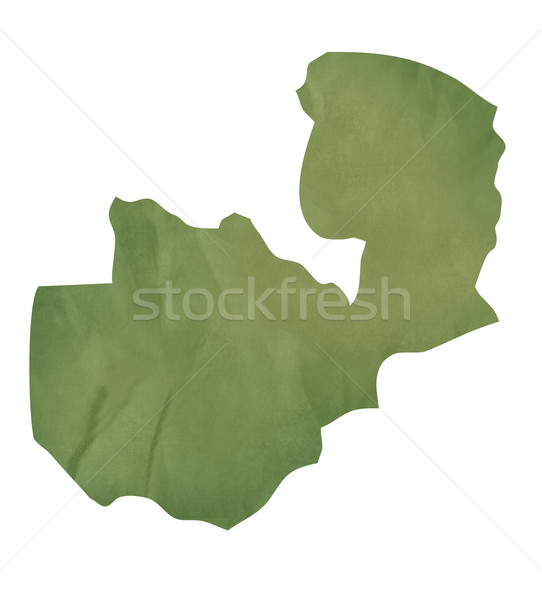 Old green paper map of Zambia Stock photo © speedfighter