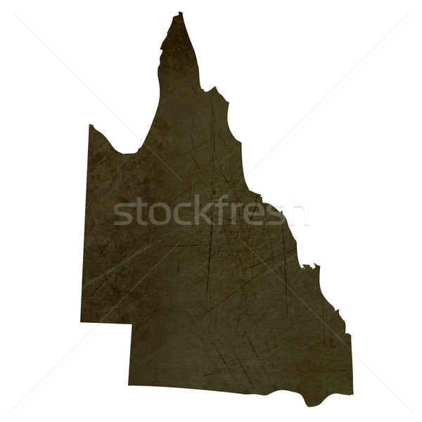 Dark silhouetted map of Queensland Stock photo © speedfighter