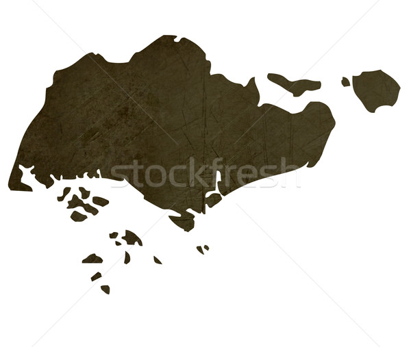 Dark silhouetted map of Singapore Stock photo © speedfighter