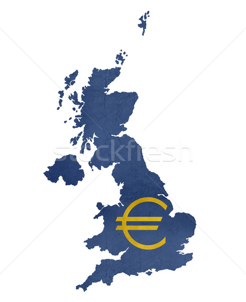 European currency symbol on map of United Kingdom Stock photo © speedfighter
