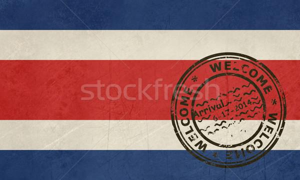Bienvenida Costa Rica bandera pasaporte sello viaje Foto stock © speedfighter