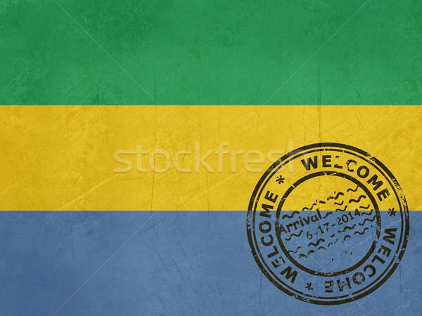 Bienvenida Gabón bandera pasaporte sello viaje Foto stock © speedfighter