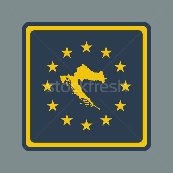 Chorwacja republika europejski banderą przycisk czuły Zdjęcia stock © speedfighter