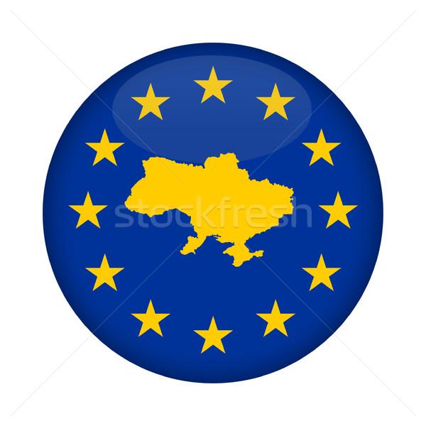Oekraïne kaart europese unie vlag knop Stockfoto © speedfighter