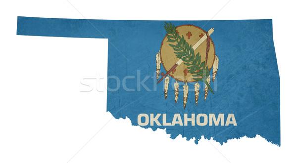 Гранж Оклахома флаг карта изолированный белый Сток-фото © speedfighter