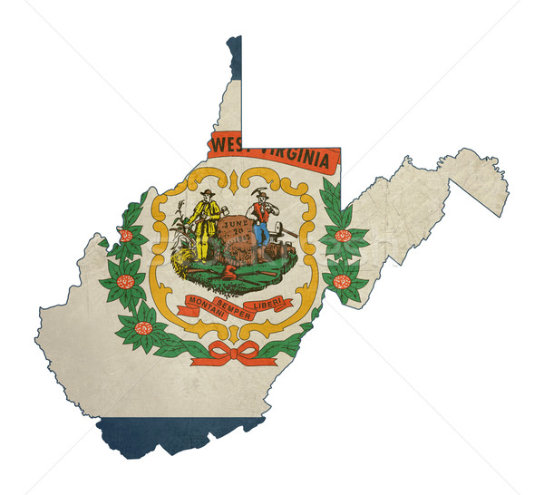 Grunge West Virginia bandeira mapa isolado branco Foto stock © speedfighter