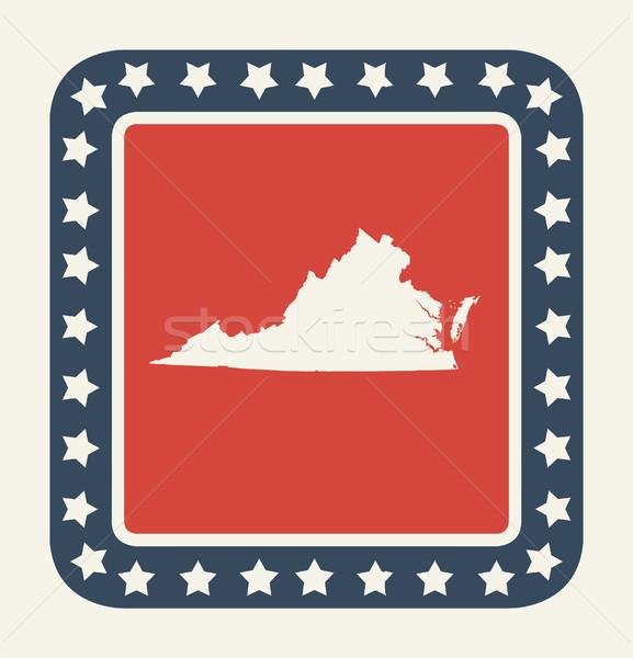 Virginie bouton drapeau américain web design style Photo stock © speedfighter