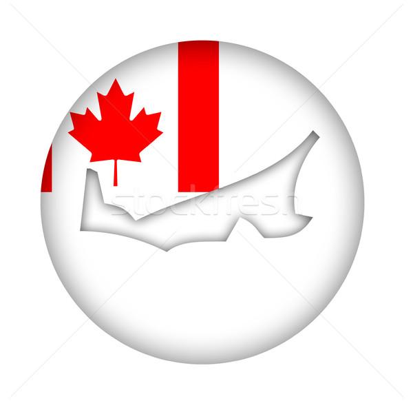 Kanada prince edward adası harita bayrak düğme yalıtılmış Stok fotoğraf © speedfighter