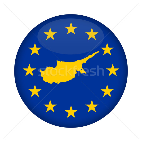 Cyprus map European Union flag button Stock photo © speedfighter