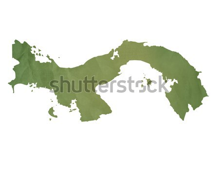 Stock fotó: öreg · zöld · papír · térkép · Panama · izolált