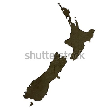 Dark silhouetted map of New Zealand Stock photo © speedfighter