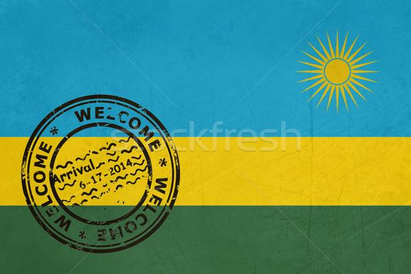 Bienvenida Ruanda bandera pasaporte sello viaje Foto stock © speedfighter