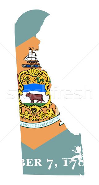 Stockfoto: Delaware · vlag · kaart · geïsoleerd · witte · USA