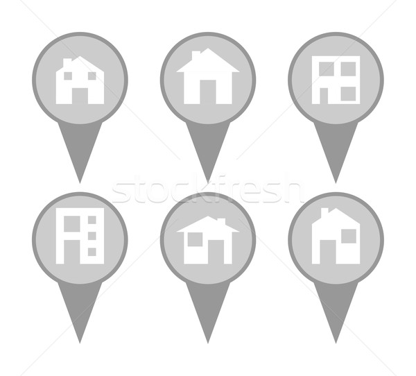 Set of modern house map pin icons Stock photo © speedfighter