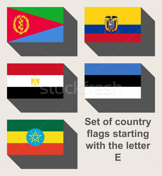 Stock fotó: Szett · vidék · zászlók · bámul · e · betű · térkép