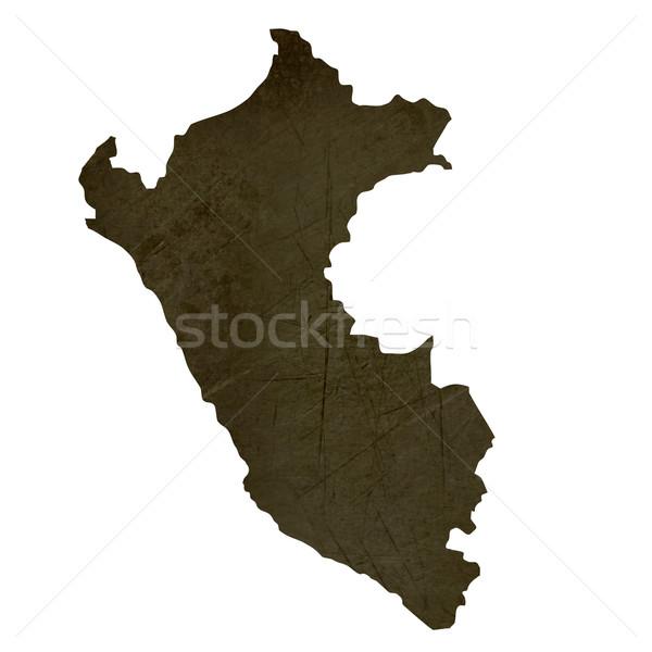 Escuro mapa Peru isolado branco Foto stock © speedfighter