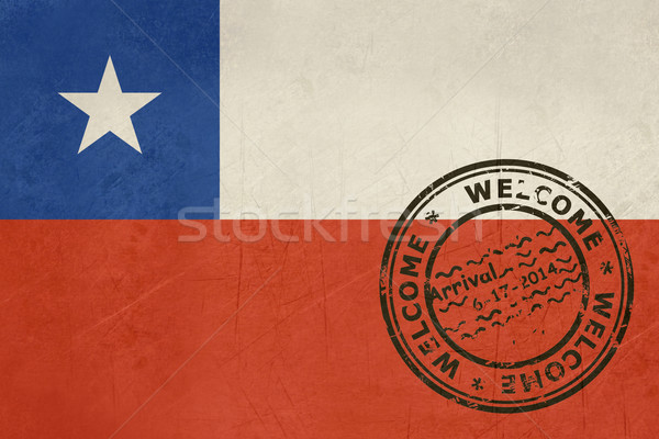 Stock fotó: üdvözlet · Chile · zászló · útlevél · bélyeg · utazás