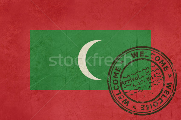 Welcome to Maldives flag with passport stamp Stock photo © speedfighter