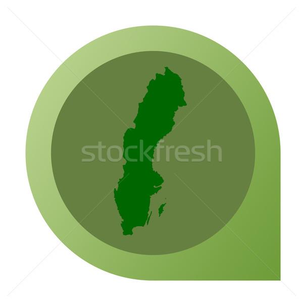 Geïsoleerd Zweden kaart fiche pin web design Stockfoto © speedfighter