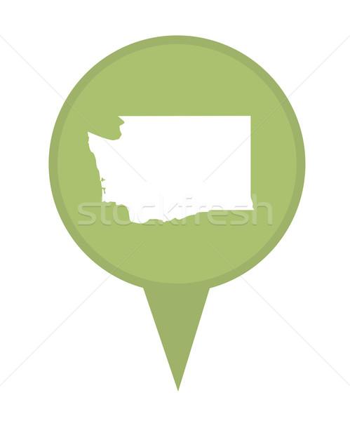 Washington kaart pin amerikaanse fiche geïsoleerd Stockfoto © speedfighter