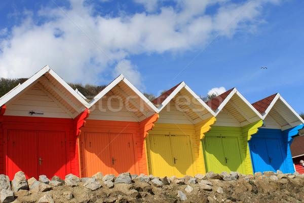 Photo stock: Coloré · plage · rangée · ciel · bleu · été