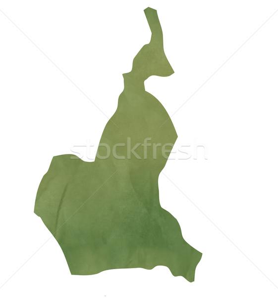Oude groene papier kaart Kameroen geïsoleerd Stockfoto © speedfighter