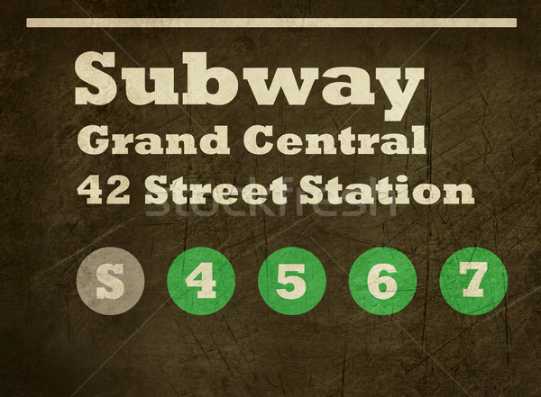 Grunge Grand Central station subway sign Stock photo © speedfighter