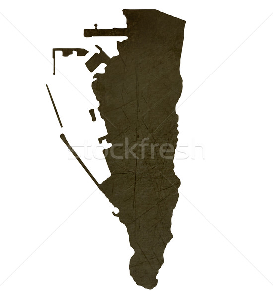 Dark silhouetted map of Gibraltar Stock photo © speedfighter