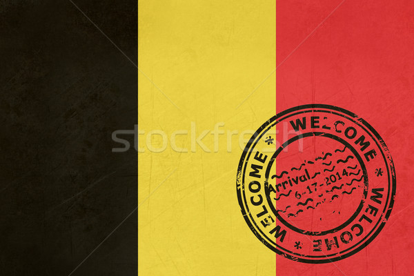 Welcome to Belgium flag with passport stamp Stock photo © speedfighter