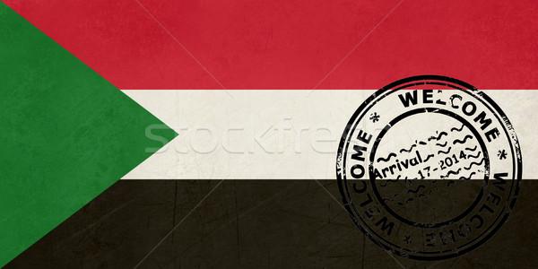 Widziane Sudan banderą paszport pieczęć podróży Zdjęcia stock © speedfighter