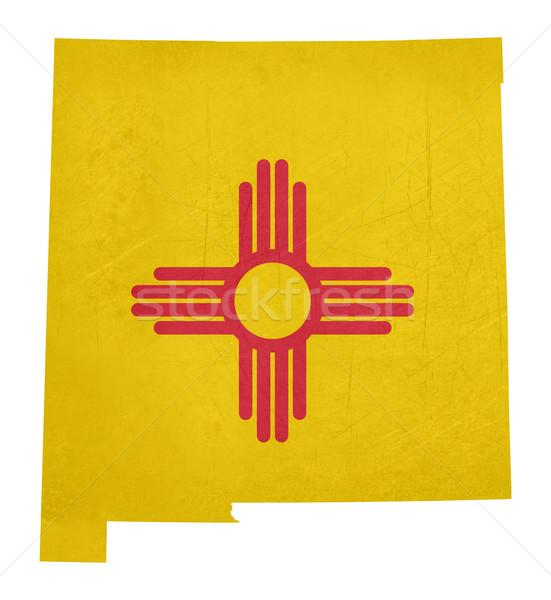 Гранж Нью-Мексико флаг карта изолированный белый Сток-фото © speedfighter