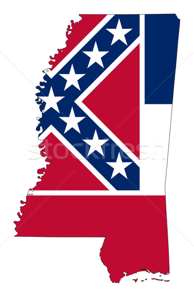 Mississipi bayrak harita yalıtılmış beyaz ABD Stok fotoğraf © speedfighter