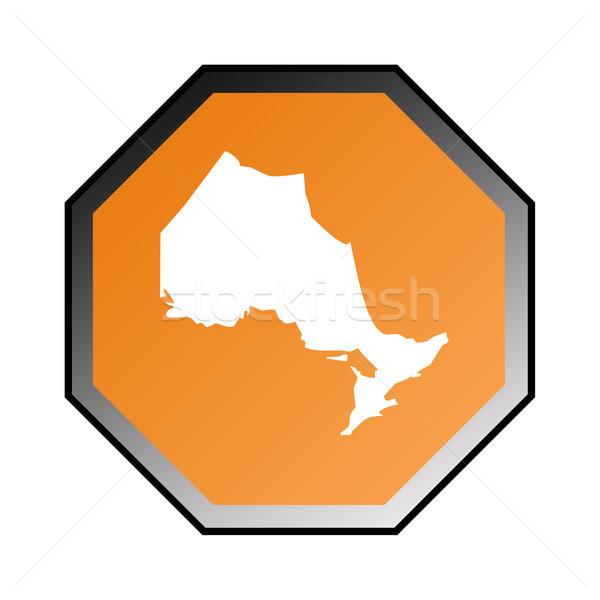 Онтарио дорожный знак изолированный белый кадр оранжевый Сток-фото © speedfighter