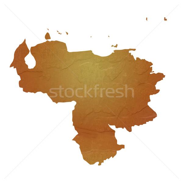 Kaart Venezuela bruin rock steen Stockfoto © speedfighter