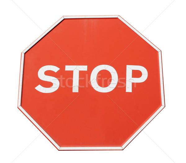 Vermelho sinal de parada isolado branco pare ícone Foto stock © speedfighter