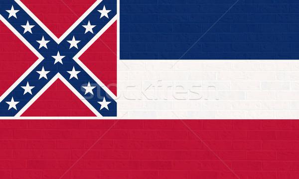 Mississipi bayrak tuğla duvar Amerika yalıtılmış beyaz Stok fotoğraf © speedfighter