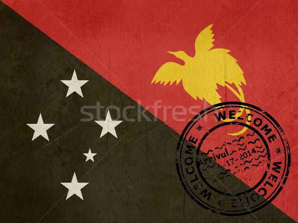 Welcome to Papua New Guinea flag with passport stamp Stock photo © speedfighter