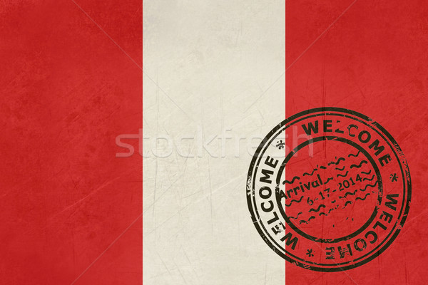 Widziane Peru banderą paszport pieczęć podróży Zdjęcia stock © speedfighter