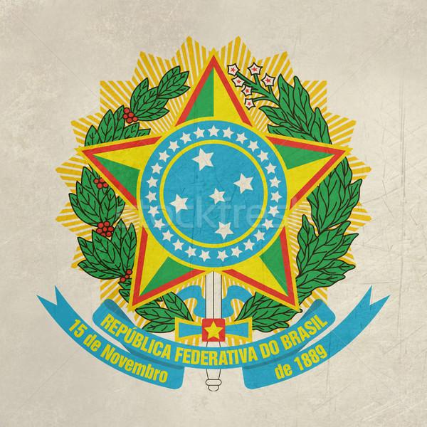 Grunge Brazil coat of Arms Stock photo © speedfighter