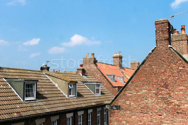屋上 住宅 町 風光明媚な 表示 屋根 ストックフォト © speedfighter