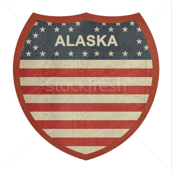 Grunge Alasca americano interestadual sinal da estrada isolado Foto stock © speedfighter