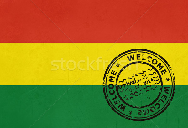 Welcome to Bolivia flag with passport stamp Stock photo © speedfighter