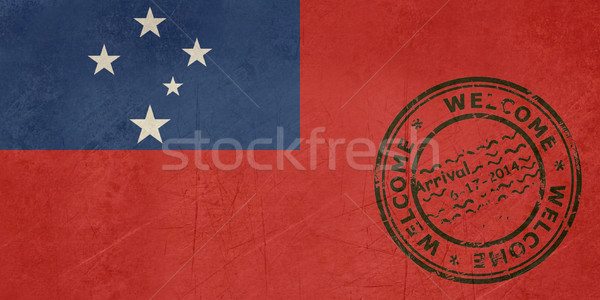 Welcome to Samoa flag with passport stamp Stock photo © speedfighter