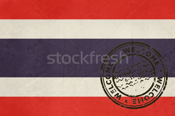 Welcome to Thailand flag with passport stamp Stock photo © speedfighter