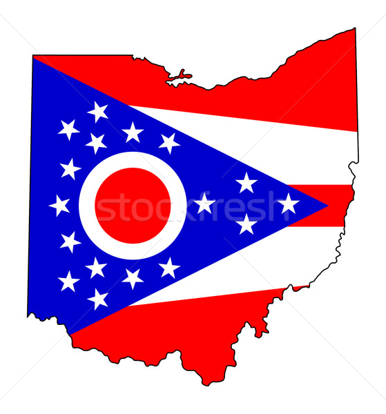 Ohio vlag kaart geïsoleerd witte USA Stockfoto © speedfighter