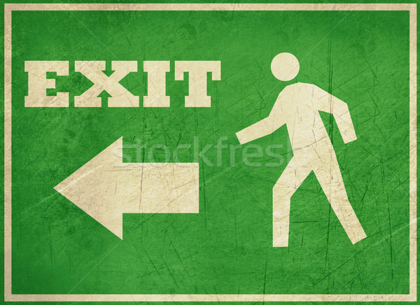 Grunge exit sign grünen isoliert weiß Business Stock foto © speedfighter