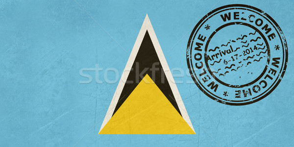 Welcome to Santa Lucia flag with passport stamp Stock photo © speedfighter