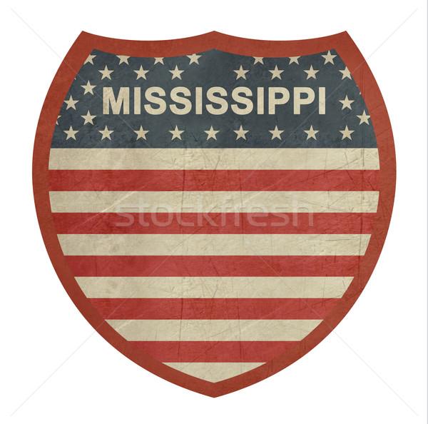 Grunge Mississippi amerikai államközi autópálya tábla izolált Stock fotó © speedfighter