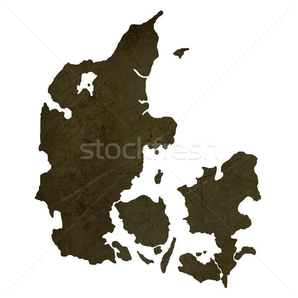 Dark silhouetted map of Denmark Stock photo © speedfighter