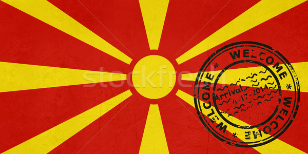 Welcome to Macedonia flag with passport stamp Stock photo © speedfighter